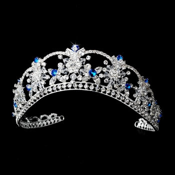 Sparkling Rhinestone & Swarovski Crystal Covered Tiara with Turquoise Iridescent