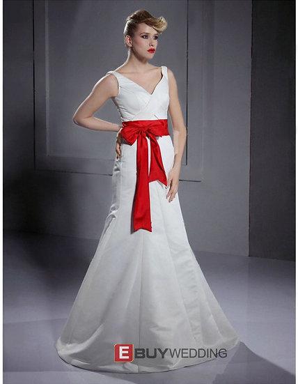 A-line V-neck Floor-length Satin Wedding Dresses with Sashes