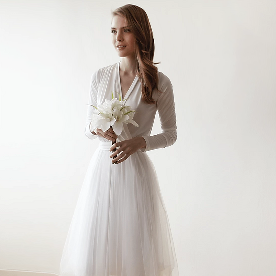 Ivory Maxi Tulle Dress With Long Sleeves