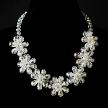 Silver Ivory Pearl & Floral Crystal Necklace 8776