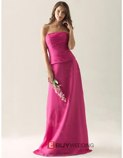 Vintage Strapless Floor-Length Chiffon Two-Piece Bridesmaid Dresses
