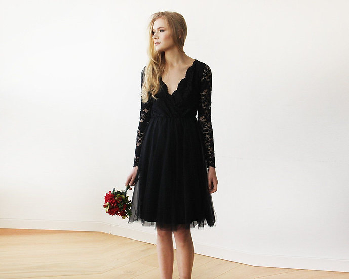 Black Tulle & Lace Midi Long Sleeves Dress SALE 1144