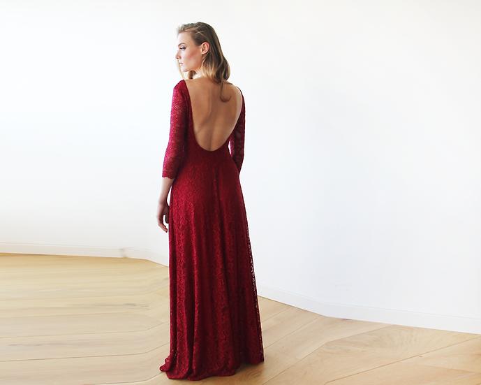 Floral Lace Backless Maxi Bordeaux Gown, Lace Wedding Dress