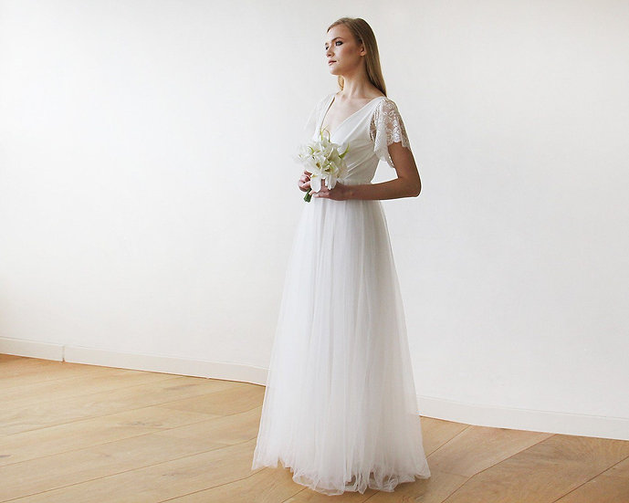 Ivory Lace Sleeves and Maxi Tulle Bridal Gown 1160