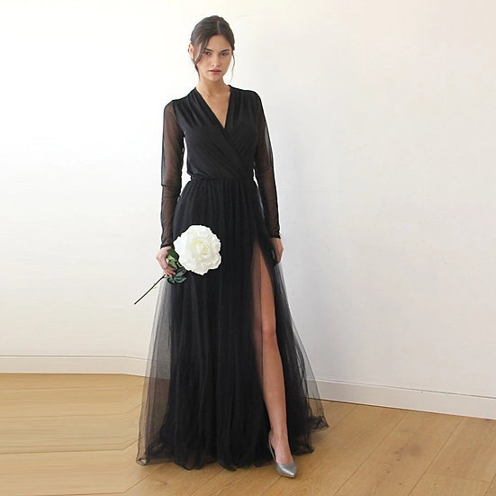 Curve & Plus Size Black Wrap Tulle Gown, Long Chiffon Sleeves and Slit,  1174