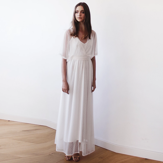 Ivory Sheer Dotted Chiffon Maxi Dress with Bat Wings Sleeves 1047