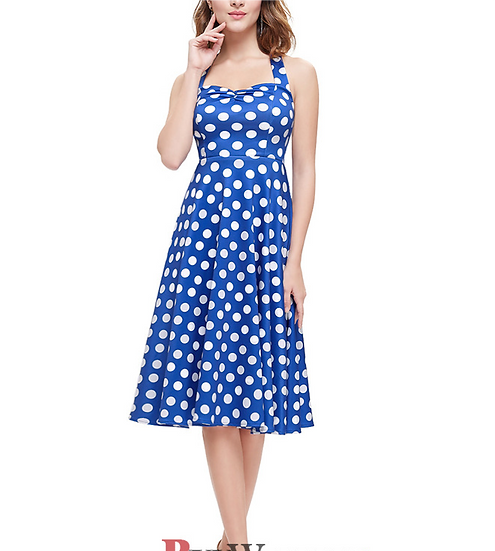A-Line Halter Knee Length Satin Dotted Homecoming Dresses