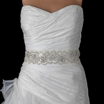 Sheer Diamond White Beaded Sequin Rhinestone Bridal Belt 294