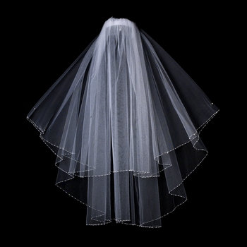 Two Tier Bridal Veil in Elbow Length with Dainty Beaded Faux Pearl Edges V 121
