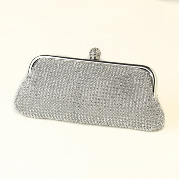 Silver Clear Crystal Evening Bag 326 with Silver Frame & Shoulder Strap