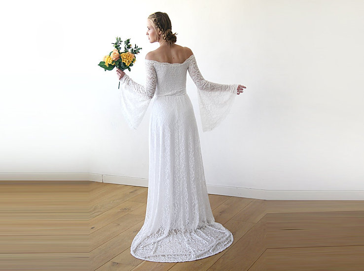 Long Bell Sleeve Lace Wedding Dress With A Train, Wedding Dress 1202