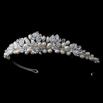 Silver Freshwater Pearl & Rhinestone Leaf Tiara 6822