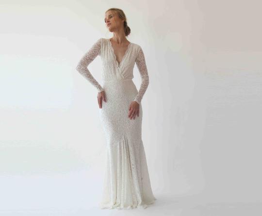 Wrap Mermaid Wedding Dress, Ivory Bohemian Wedding Dress 1255