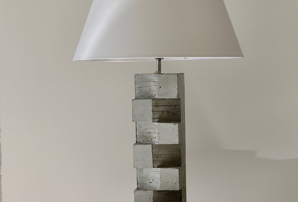 Brutal Lamp / Concrete with Parchment Shade
