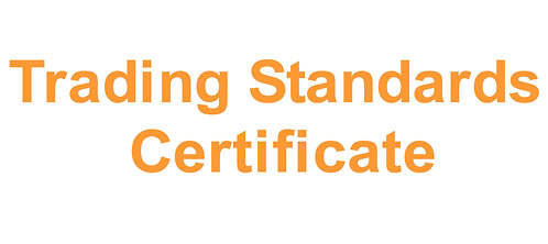 Bar Weight Trading Standards Certificate