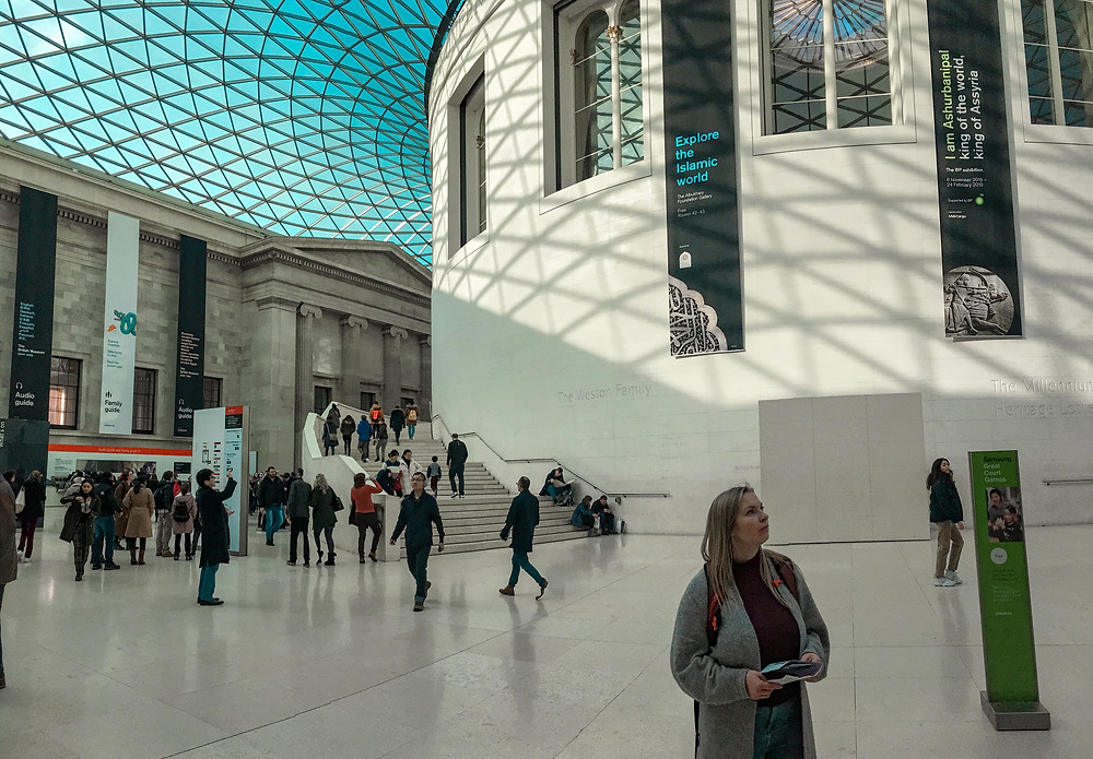 girl standing in the British Museum in London