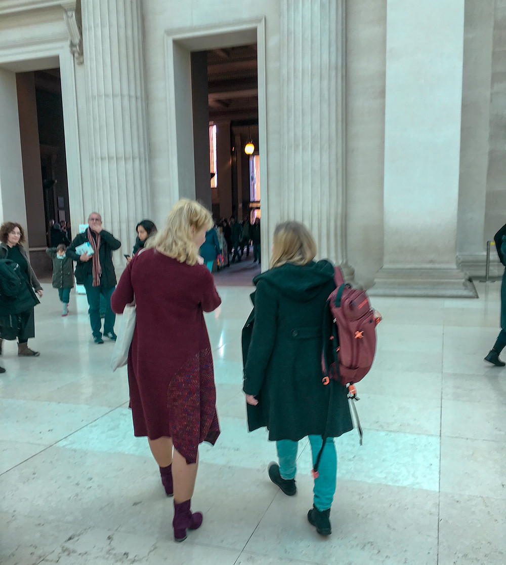 two women walking in the British Museum in London