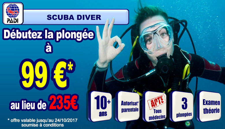 Offre spéciale formation PADI Scuba Diver