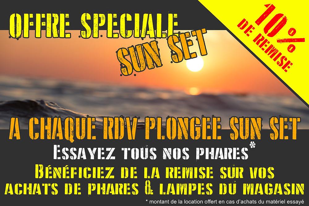 offre spéciale SUN SET avec 10% de remise sur les lampes & phares de plongée pour les participants