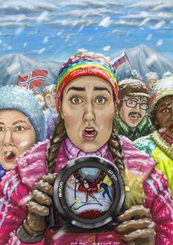 ski portrett retro