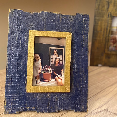 Blue frame with gold accents