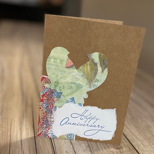 Colorful Lovebirds Anniversary Card
