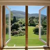 Windows open with view of Mourne Mountai