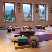 Yoga mats on floor in yoga studio