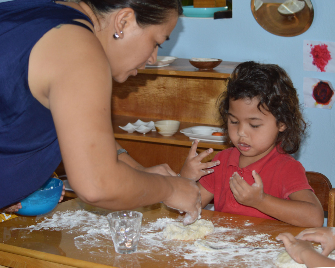 Getting ready to knead the tatiyas dough