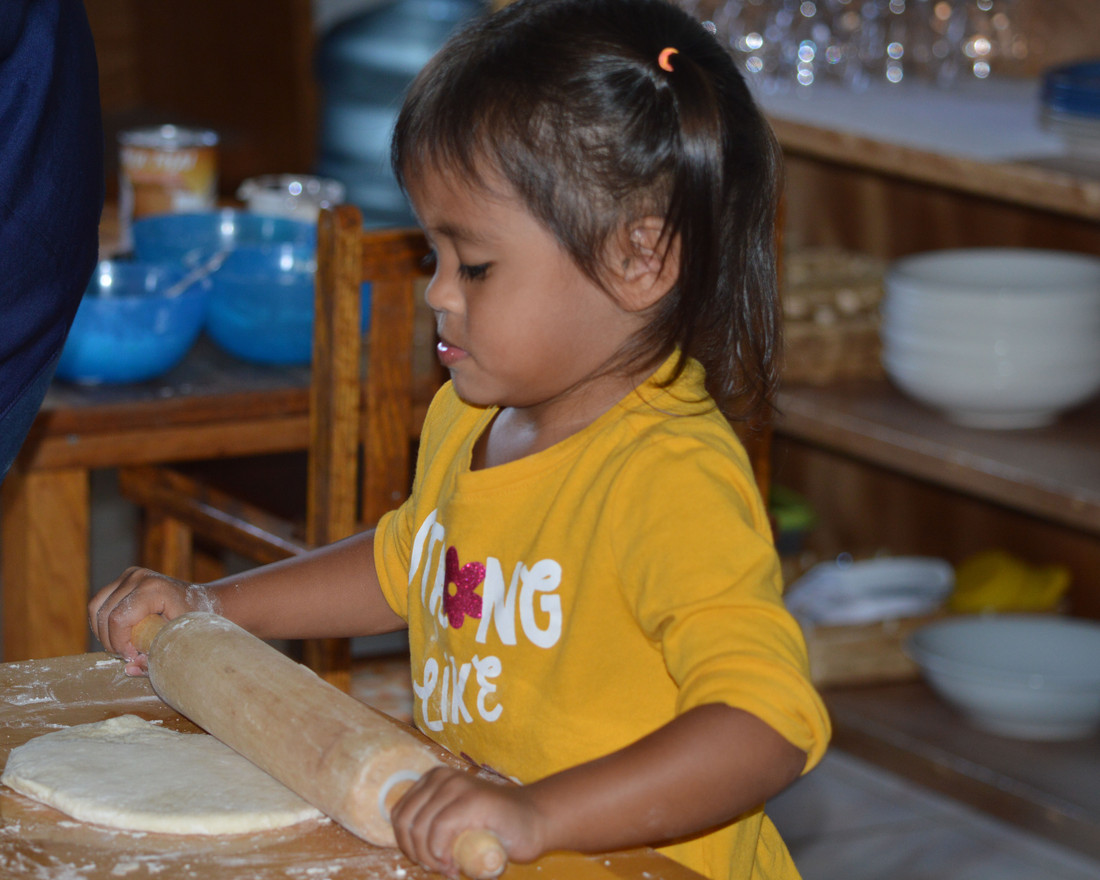 Rolling out the tatiyas dough