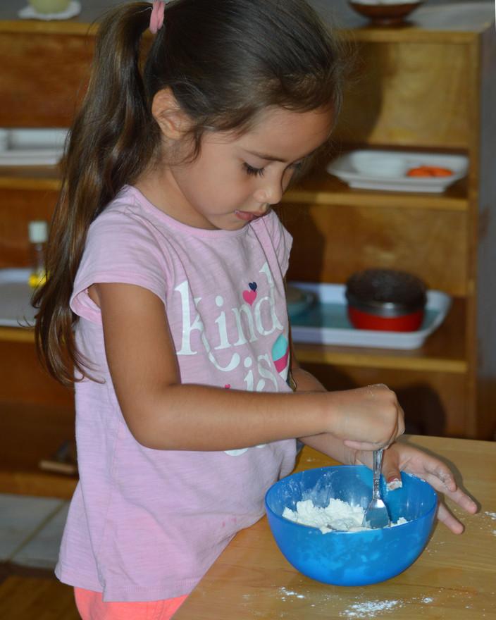 Mixing the tatiyas ingredients