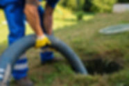 Emptying household septic tank. Cleaning