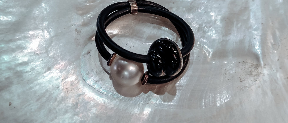 Australian South Sea Pearl with Glass Bead Ring