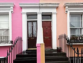 front doors of adjoining owners with pary wall and railings