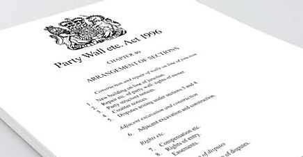 Photo of a document entitled Party Wall etc. Act 1996