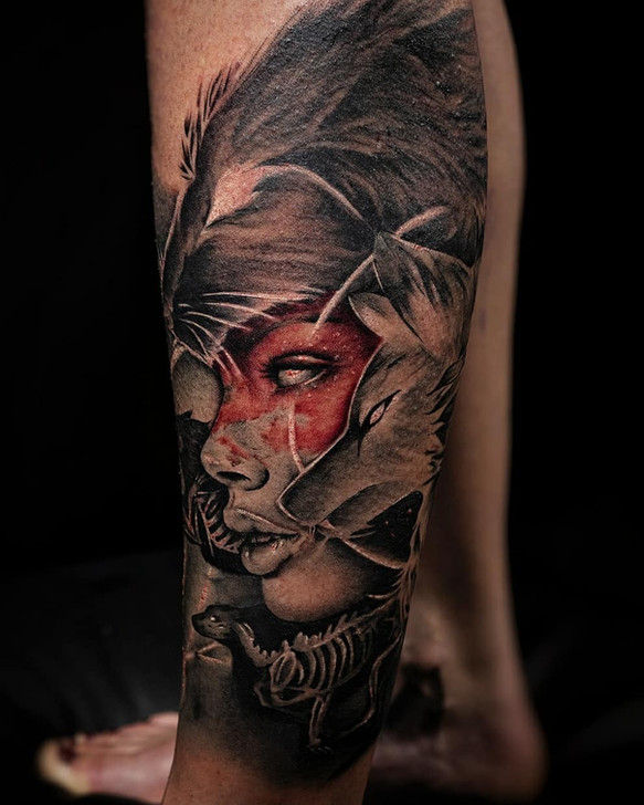 native queen with wolf