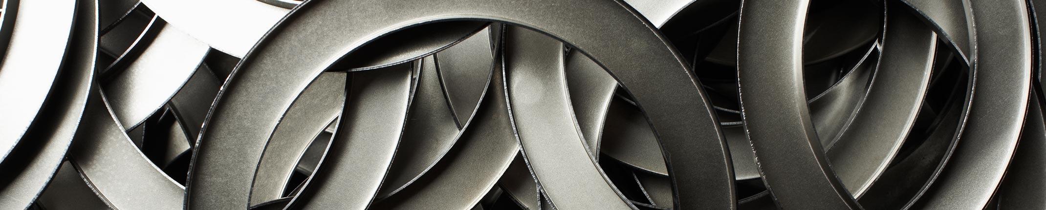 Closeup af udstanset metal ringe