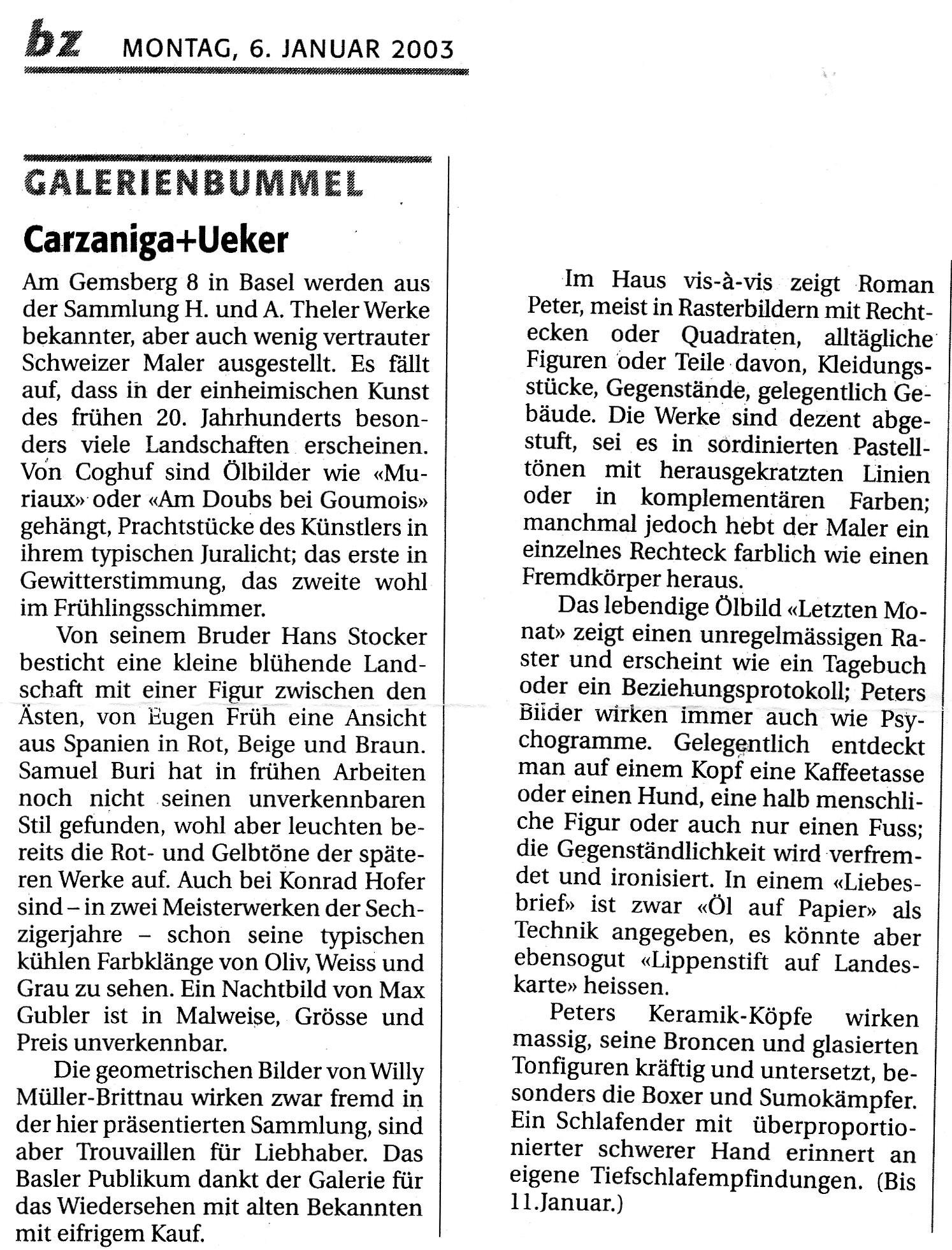 Januar 2003, bz Galerienbummel