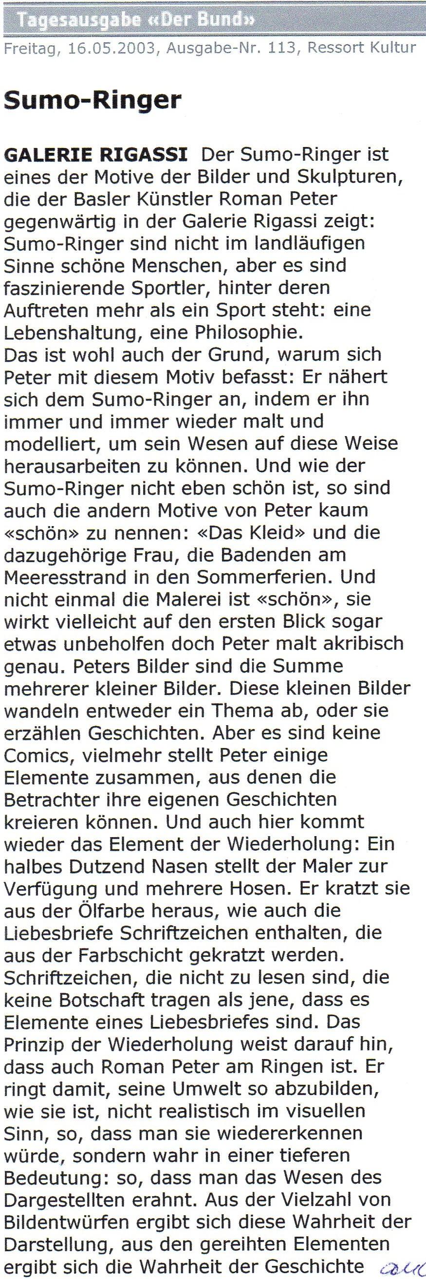Mai 2003, Der Bund