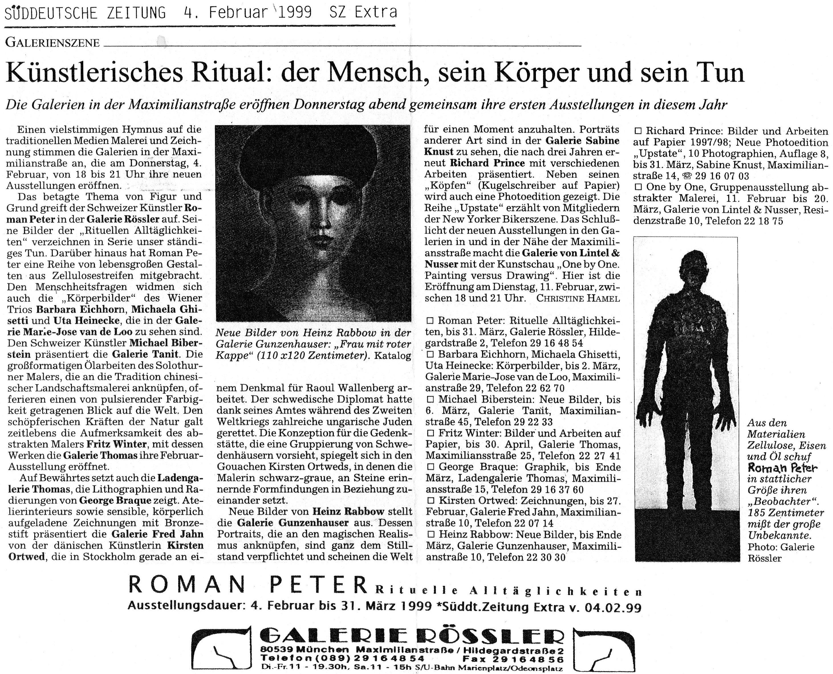 Februar 1999, Süddeutsche Zeitung sz