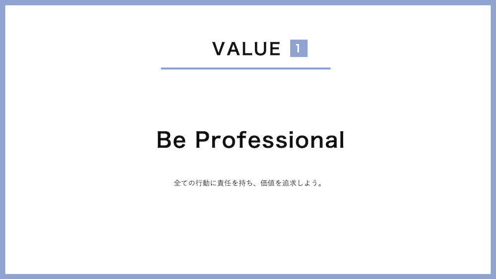Value-1, Be Professional