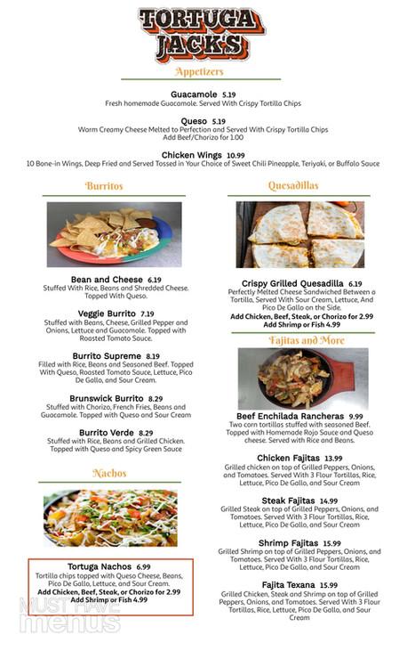 Tortuga Jack's Brunswick Menu Page 1