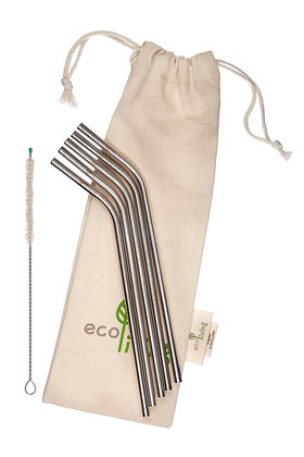 5 Stainless Steel drinking straws in a cotton bag