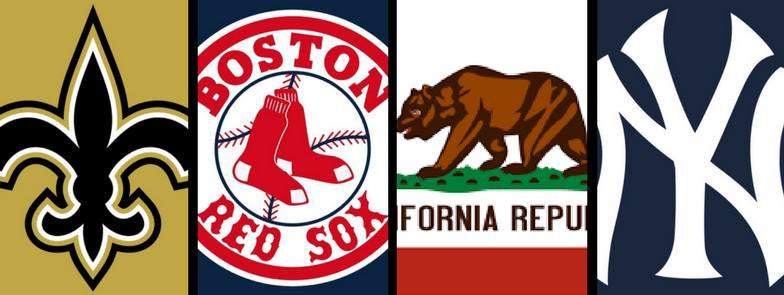 Collage of New Orleans Saints, Boston Red Sox, California State Flag and New York Yankees symbol