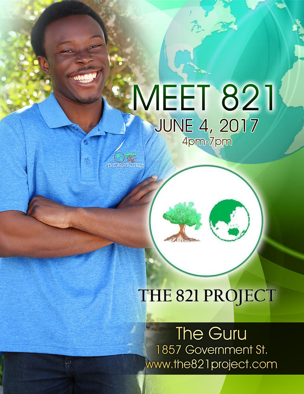 Picture is a flyer with a man smiling behind a tree and a globe.