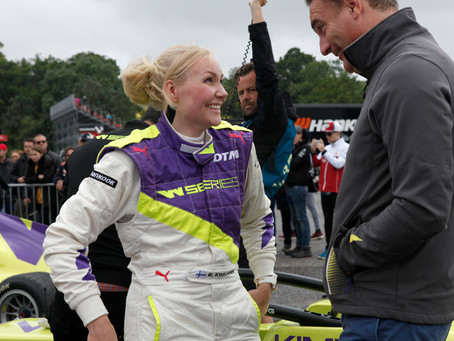 Emma Kimilainen leads the first practice session on a wet Brands Hatch