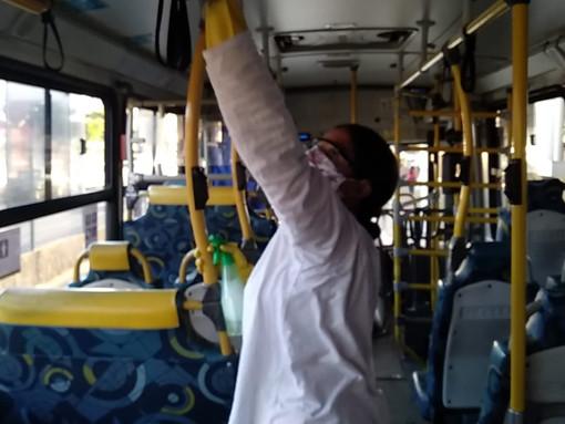 Sanitização dos ônibus da TUPi