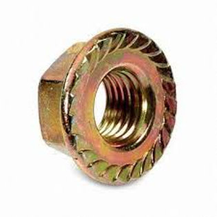 M8 Zinc Yellow Steel Serrated Flange Hex Nut Pkt Qty = 100
