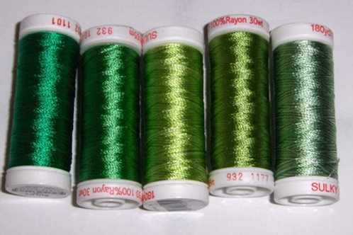 40-Weight Sulky Thread Collection (Medium Greens)