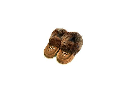 Baby Mocassins, Fur Lined, Moka Suede